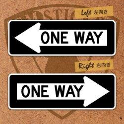 """画像1: アメリカンステッカー道路標識型""""ONE WAY""""S"""