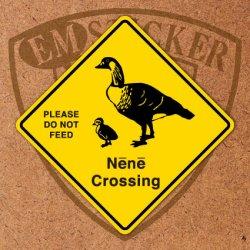 """画像1: アメリカンステッカー ハワイ道路標識型""""Nene Crossing"""""""