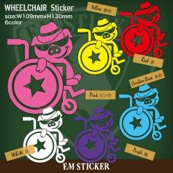 """画像1: """"ちょいワル""""ブタの車椅子マークステッカー"""