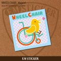ほっこりかわいい鳥さんの車椅子マークマグネット